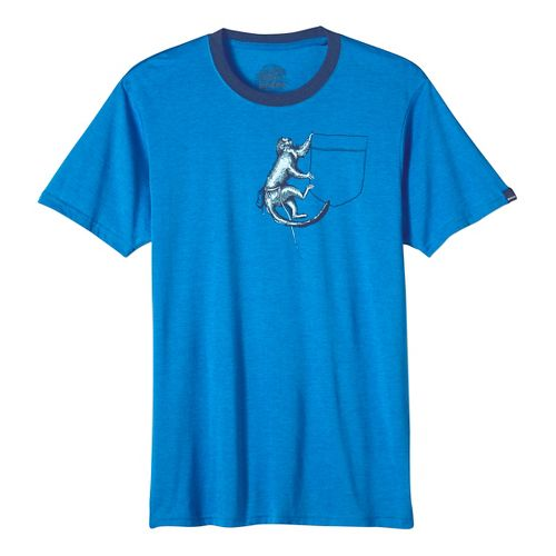 Mens prAna Silly Monkey Ringer Short Sleeve Non-Technical Tops - Classic Blue XL