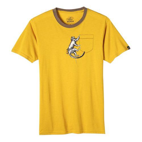 Mens prAna Silly Monkey Ringer Short Sleeve Non-Technical Tops - Marigold XL