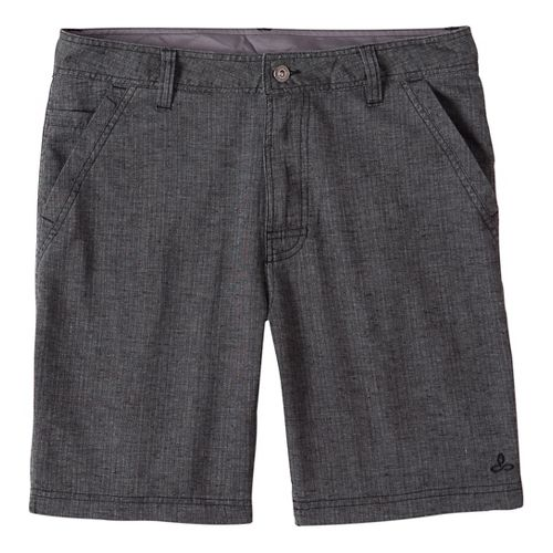 Mens prAna Furrow Short 8 Inseam Unlined Shorts - Black Herringbone 38