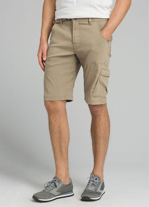 Mens prAna Stretch Zion Unlined Shorts - Dark Khaki 35