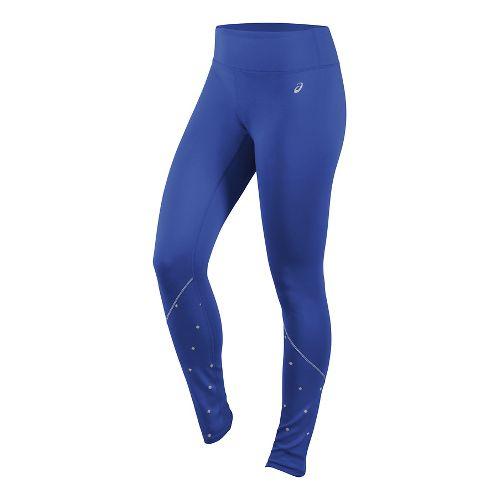 Womens ASICS Lite-Show Winter Tights & Leggings Pants - Royal Blue XS