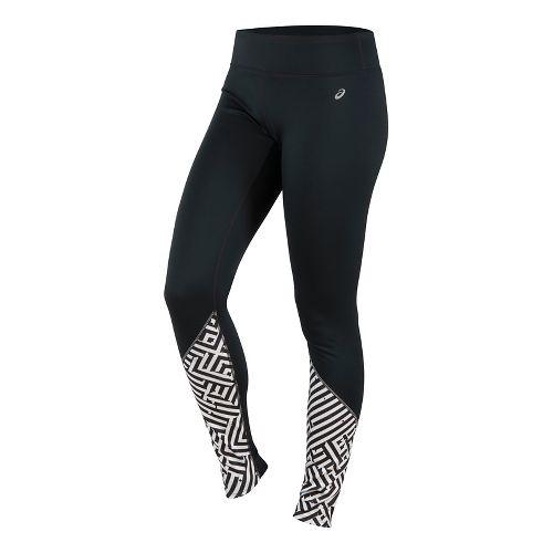 Womens ASICS Lite-Show Winter Tights & Leggings Pants - Maze Print XS