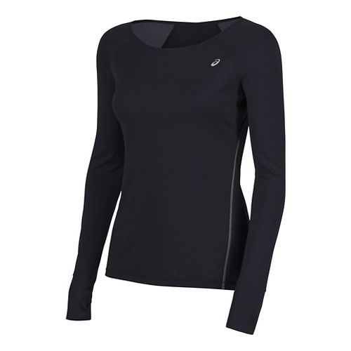 Womens ASICS Lite-Show Favorite Long Sleeve Technical Tops - Performance Black XL