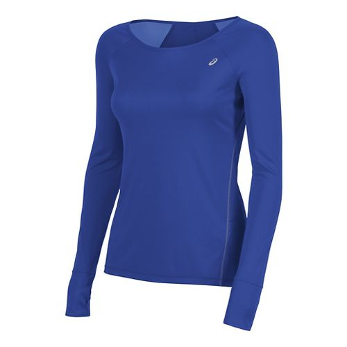 Womens ASICS Lite-Show Favorite Long Sleeve Technical Tops - Royal Blue M
