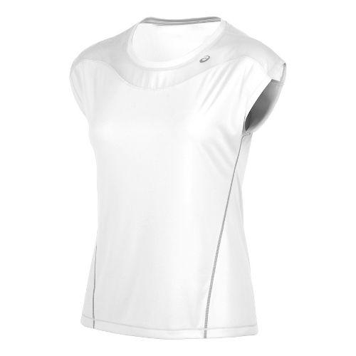 Womens ASICS Lite-Show Favorite Short Sleeve Technical Tops - Real White M