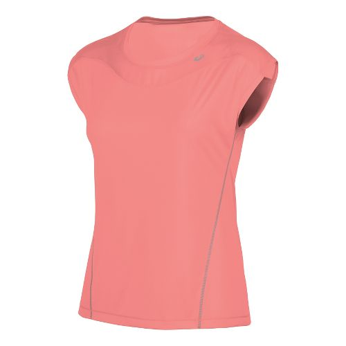 Womens ASICS Lite-Show Favorite Short Sleeve Technical Tops - Guava XS