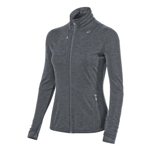 Womens ASICS Thermopolis Full Zip Jacket Long Sleeve Technical Tops - Dark Grey Heather M ...