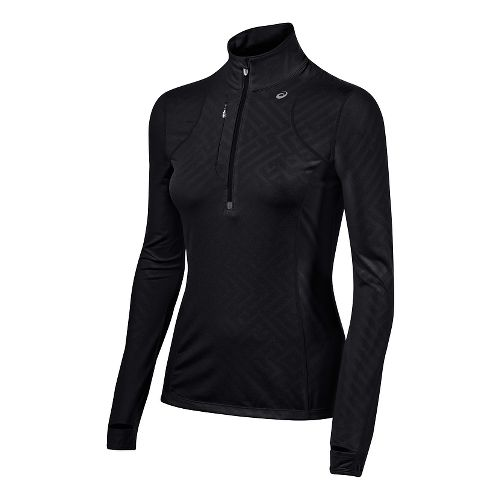 Womens ASICS Thermopolis 1/2 Zip Technical Tops - Performance Black L