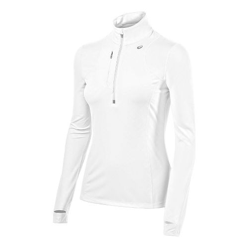 Womens ASICS Thermopolis 1/2 Zip Technical Tops - Real White XL
