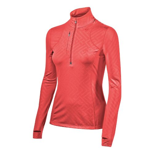 Womens ASICS Thermopolis 1/2 Zip Technical Tops - Fiery Flame Maze L