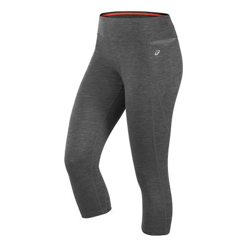 Womens ASICS Thermopolis Capris Pants - Dark Grey Heather M