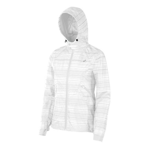 Womens ASICS Storm Shelter Rain Jackets - Real White M