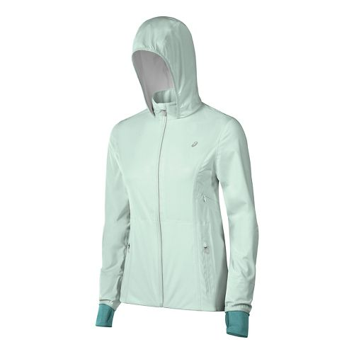 Womens ASICS Accelerate Rain Jackets - Soothing Sea M
