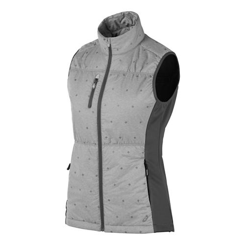Womens ASICS Puff Vests Jackets - Grey Heather Glow L