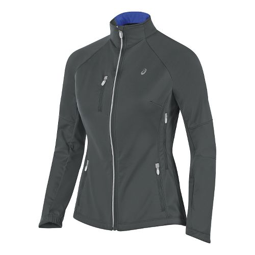 Womens ASICS Softshell Jacket Hoodie & Sweatshirts Technical Tops - Iron Gate L