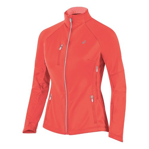 Womens ASICS Softshell Jacket Hoodie & Sweatshirts Technical Tops - Fiery Flame M