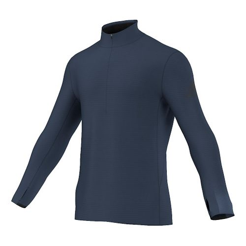 Mens adidas Climaheat Half-Zip Long Sleeve Technical Tops - Mineral Blue M