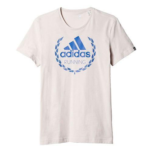 Mens adidas Running Winner Graphic Tee Short Sleeve Technical Tops - Peal Grey XL