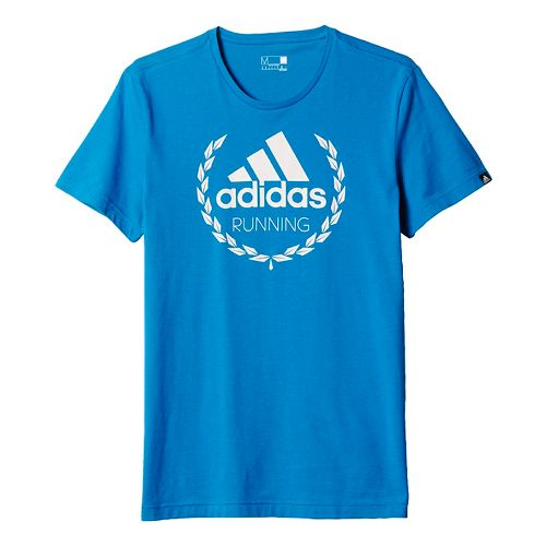 Mens adidas Running Winner Graphic Tee Short Sleeve Technical Tops - Unity Blue L