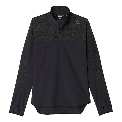 Mens adidas Supernova Storm Half-Zip Long Sleeve Technical Tops - Black L