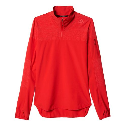 Mens adidas Supernova Storm Half-Zip Long Sleeve Technical Tops - Ray Red S