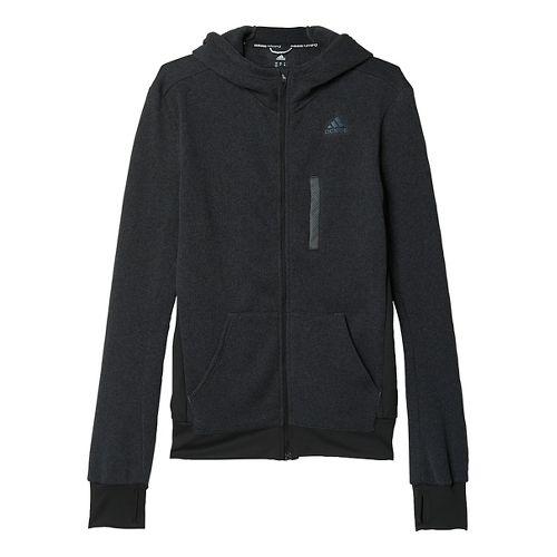Mens adidas Ultra Knit Fleece Running Jackets - Black/Solid Grey S