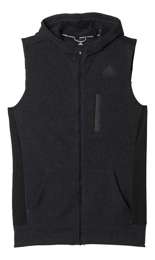 Mens adidas Ultra Knit Fleece Vests Jackets - Black/Solid Grey M