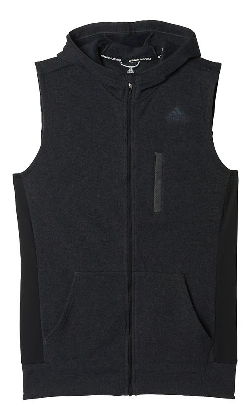 Mens adidas Ultra Knit Fleece Vests Jackets - Black/Solid Grey XL