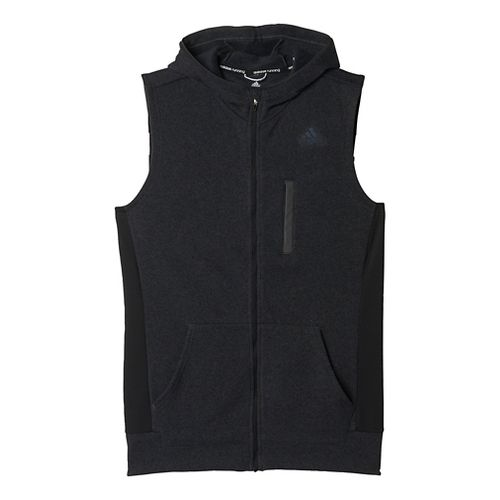 Mens adidas Ultra Knit Fleece Vests Jackets - Black/Solid Grey XL