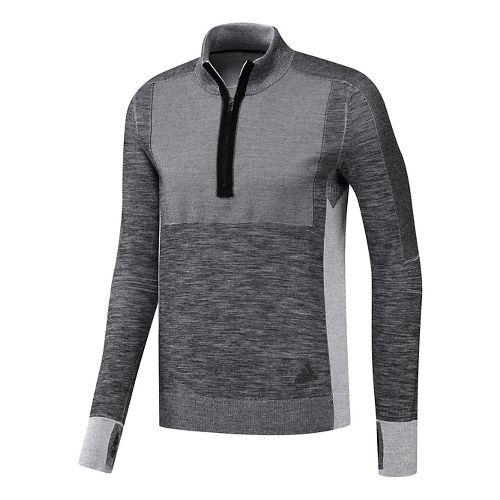 Mens adidas Ultra Primeknit Half-Zip Long Sleeve Technical Tops - Black/White XL