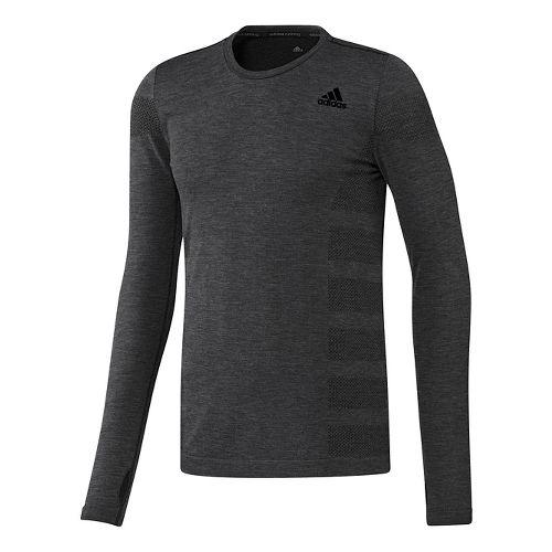 Mens adidas Ultra Wool Primeknit Long Sleeve Technical Tops - Black/Utility Black M