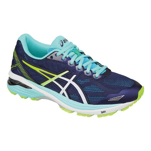Womens ASICS GT-1000 5 Running Shoe - Navy/Safety Yellow 5