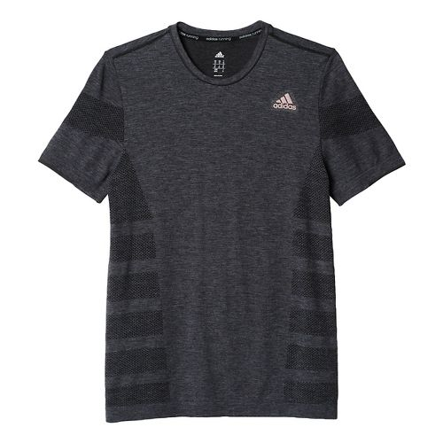 Mens adidas Ultra Wool Primeknit Short Sleeve Technical Tops - Black/Utility Black M