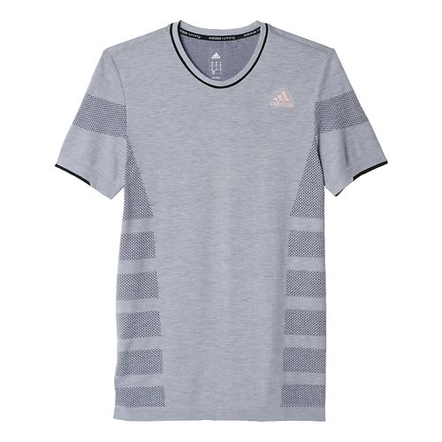 Mens adidas Ultra Wool Primeknit Short Sleeve Technical Tops - Grey M