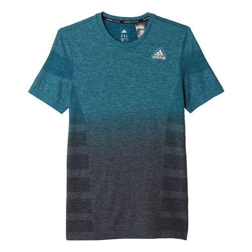 Mens adidas Ultra Wool Primeknit - DipDye Short Sleeve Technical Tops - Tech Green/Black M ...