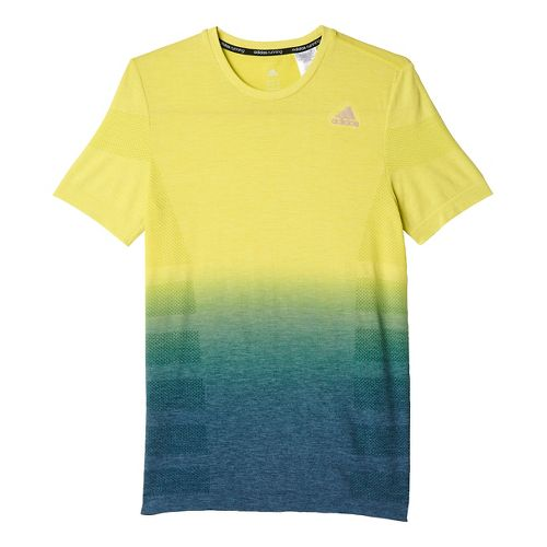Mens adidas Ultra Wool Primeknit - DipDye Short Sleeve Technical Tops - Shock Slime/Blue S ...