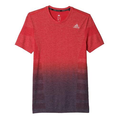 Mens adidas Ultra Wool Primeknit - DipDye Short Sleeve Technical Tops - Ray Red/Royal L ...
