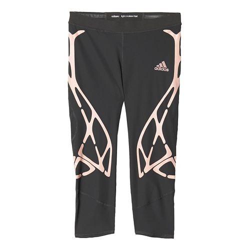 Womens adidas Adizero Sprintweb Three-Quarter Tights & Leggings Pants - Black/Pink XL