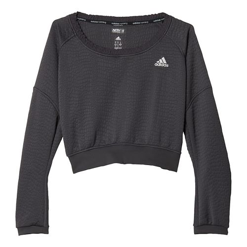 Womens adidas AKTIV Pullover Long Sleeve Technical Tops - Utility Black XL