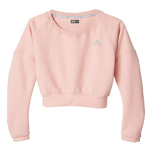 Womens adidas AKTIV Pullover Long Sleeve Technical Tops - Vapour Pink XS