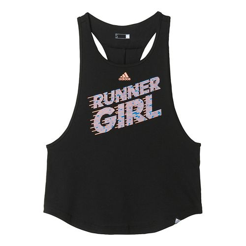 Womens adidas Graphic Tank - Runner Girl Sleeveless & Tank Technical Tops - Black S ...
