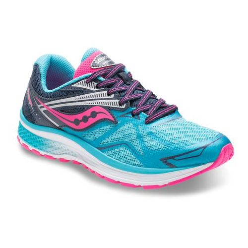 Kids Saucony Ride 9 Running Shoe - Blue/Pink 4Y