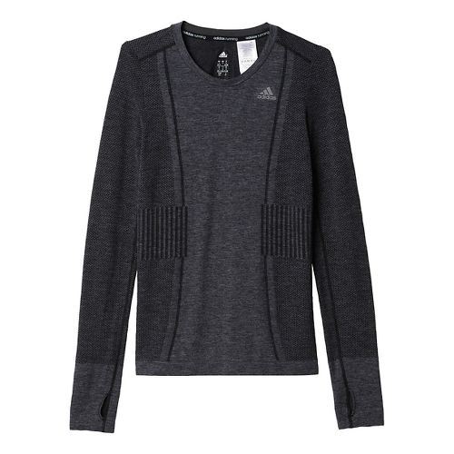 Womens adidas Ultra Wool Primeknit Long Sleeve Technical Tops - Black/Black XS