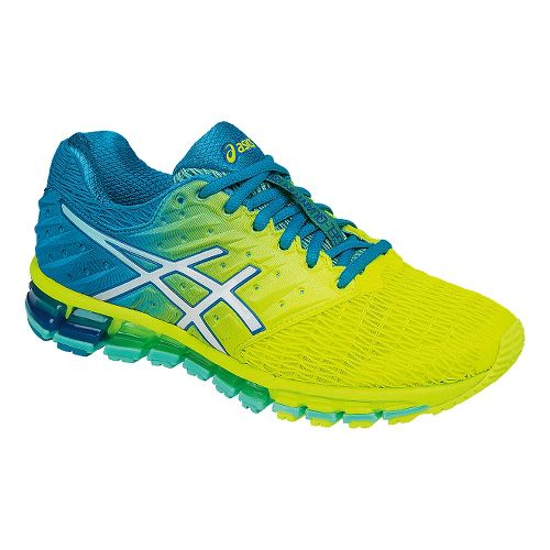 Womens ASICS GEL-Quantum 180 2 Running Shoe - Safety Yellow/Blue 10.5