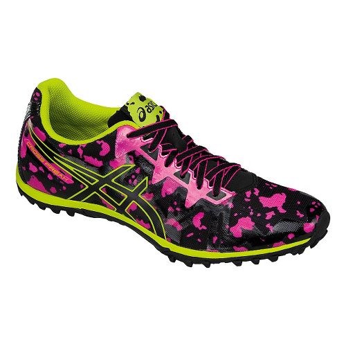 Womens ASICS Cross Freak 2 Track and Field Shoe - Pink/Black/Neon Lime 5