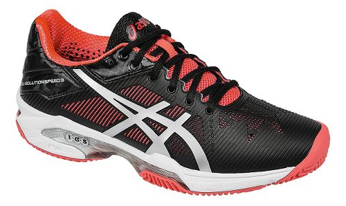Womens ASICS GEL-Solution Speed 3 Clay Court Shoe - Black/Silver/Pink 8