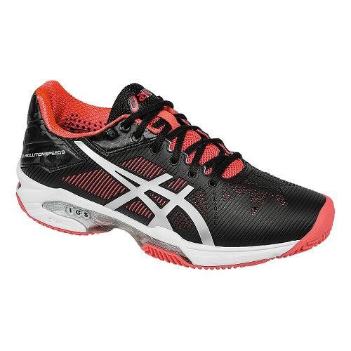 Womens ASICS GEL-Solution Speed 3 Clay Court Shoe - Black/Silver/Pink 7