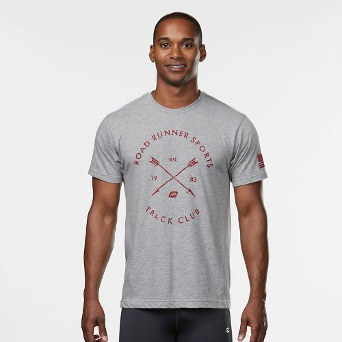 Mens R-Gear Track Club Graphic Tee Short Sleeve Technical Tops - Heather Grey M