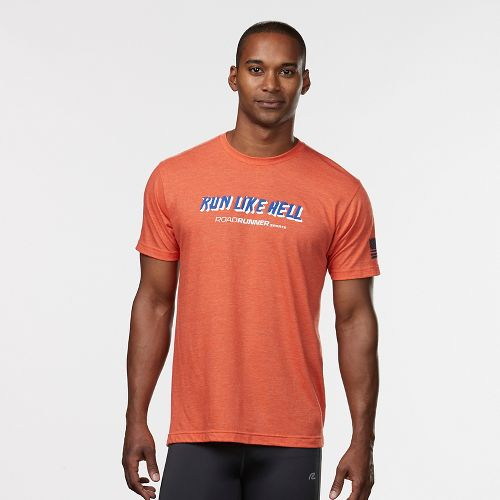 Mens R-Gear Run Like Hell Graphic Tee Short Sleeve Technical Tops - Heather Orange M