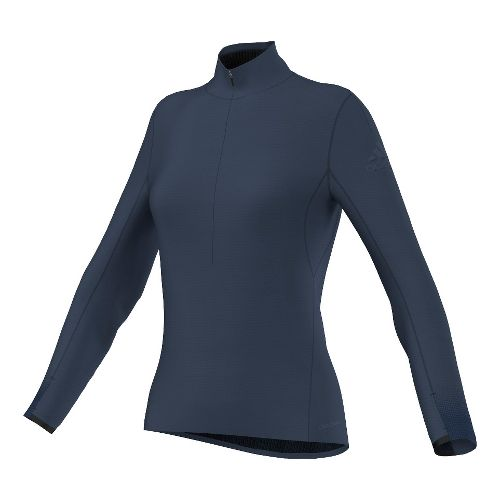 Womens adidas Climaheat Half-Zip Long Sleeve Technical Tops - Mineral Blue M